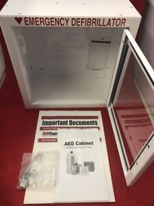 Aed Emergency Medical Defib Cabinet Steel Wall Mount White 13 5x13x7 See Desc