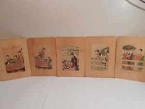 5 Vintage Japanese Wood Bamboo Reed Paper Art Geisha Girls