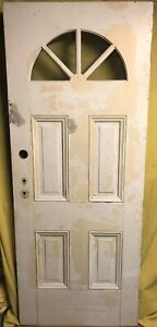 Antique Victorian Wood Exterior French Entry Door W Half Moon Glass 32x80