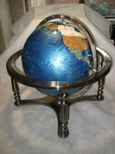 Large Semi Precious Stones Inlay World Globe With Silver Base Stand