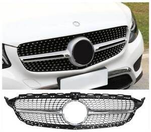 Diamond Grill For Mercedes Benz W205 C Class C250 C300 C400 2015 18 Front Grille