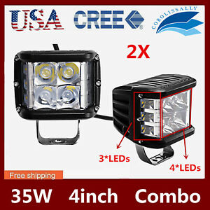 2x 4 35w Cree Led Work Light Side Shooter Cube Pods Combo Offroad Driving Lamps