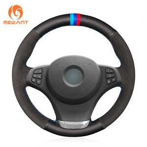 Design Black Leather Suede Steering Wheel Cover For Bmw X3 E83 2007 2010 X5 E53