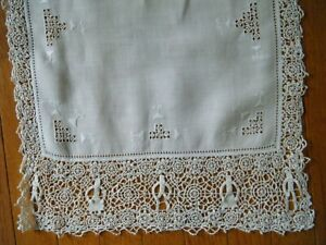 18c Antique Reticella Runner Combo Emb Ery Figural Needle Lace H Done Italy