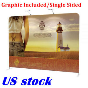 Us 10ft Portable Tension Fabric Exhibition Stand Backdrop Banner Graphic Include