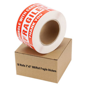18 Rolls 3x5 Fragile Handle With Care Stickers 500 roll Warning Shipping Labels