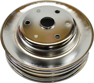 Chrome Steel Triple Groove Crank Pulley For Sb Chevy Long Water Pump Chevrolet
