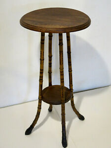 Antique Vintage Early 20th Century Round Bamboo Oak Ebony Foot Plant Stand