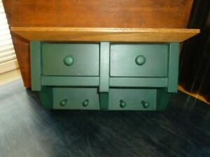 Vintage Country Green Painted Wood Hanging Wall 2 Drawer Spice Box Herb Pegs