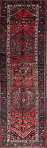 Hamadan Oriental Wool Handmade One Of A Kind Geometric Persian Runner Rug 3x10