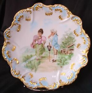 Antique Limoges France Portrait Plate Lady Gentleman Courting Handpainted