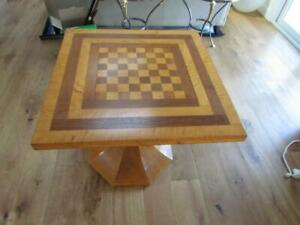 Vintage Tiger Maple Birdseye Table With Chess Or Checkers Inlaid Top
