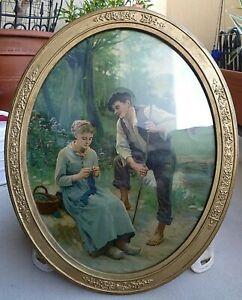 Antique Victorian Oval Gesso Wood Framed Chromo Picture Romantic Cows