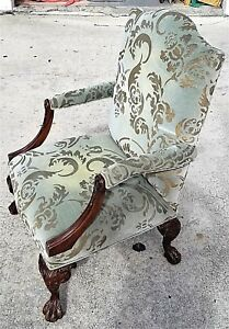 Antique Chippendale Style French Carved Claw Ball Bergere Armchair
