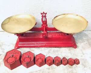 Antique French Force 10 Kilo Cast Iron Farmhouse Kitchen Balance Scale 6 Weights
