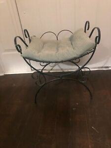 Vintage Hollywood Regency Iron Vanity Bench Seat Chair Mid Century