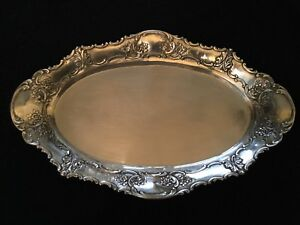 Antique German Handmade 800 Silver Repousse Oval Bread Tray Dish