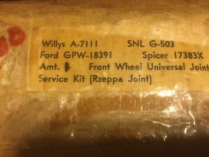 Mb Gpw Willys Ford Wwii Jeep G503 Rzeppa Front Axle Universal Joint Kit Nos