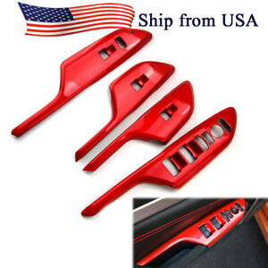 4pcs Red Car Door Window Lift Switch Panel Cover Trim For Honda Civic Lhd 16 18