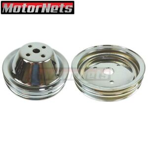 Chrome Small Block Chevy Sbc Short Water Pump Crank Pulley 2 Double Groove Swp