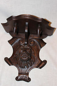 Antique Walnut Oak Black Forest Lion Head Carving Wall Mount Shelf Clock Shelf