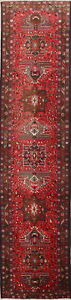 One Of A Kind Palace Size Geometric 3x13 Wool Persian Heriz Oriental Runner Rug