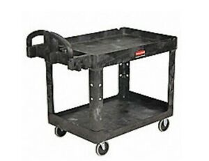New Rubbermaid Fg452088bla Standard Utility Cart Black 2 shelf 500lb Capacity