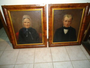 Pair Antique New Hampshire Empire Portraits Great Great Lineage