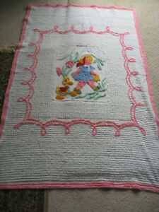Vintage Chenille Quilt Coverlet Girl W Duckie 66x40 Freshly Laundered All Cot