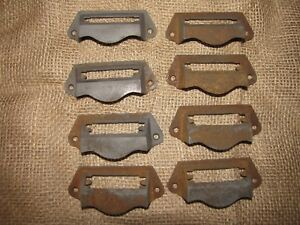 8 Old File Cabinet Label Drawer Pulls Handles Apothecary
