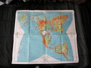 1954 Air Force Earth Map Physical Political Map Of The World Polar Projection