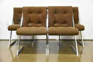 Set Of 4 Milo Baughman For Dia Chrome Z Bar Cantilever Dining Chairs Mid Century