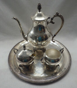 Silver Vintage Tray And Tea Set 1883 Fb Rogers Silver Co Item J485