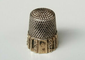 Antique Ketcham Mcdougall Gold Band Sterling Silver Thimble Size 9