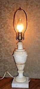 Antique Carved Marble Lamp 21 Inches Tall
