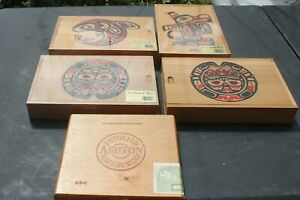 Lot Of 5 Mixed Vintage Folk Art Carved Wood Wooden Boxes With Stationery