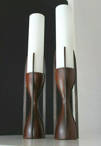 Mid Century Modeline Pair Sculptural Mahogany Opaline Cylinder Glass Lamps