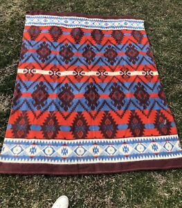 Antique Vtg 30s 1940s Indian Design Camp Blanket Wool And Cotton Blue Red 74x57