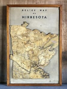Huge Framed Antique Vtg Plaster Relief Wall Map Of Minnesota Early 1900s Geology