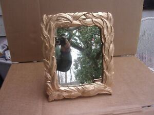 Antique Mirror In Gold Wall Hanging Or Standing With Leaves