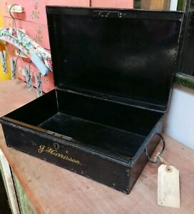 Vintage Original Black Steel Cash Tin Deed Money Box Storage Garage Filing Metal