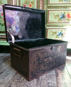 Vintage Original Black Steel Cash Tin Deed Large Box Storage Garage Filing Metal