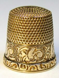 Antique Ketcham Mcdougall Gold Thimble Chased Floral Design C1900s