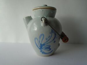 Vintage Ovoid Blue Decorated Stoneware Stoneware Batter Jug W Orig Lid Handle