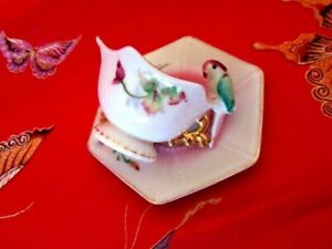M T Mini Parrot Bird Handle Hand Painted Japan Footed Teacup Cup And Saucer