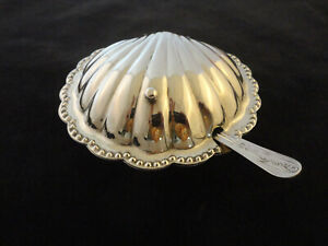Vintage Leonard Silver Plated Scallop Shell Dish Glass Liner And Spreader 311