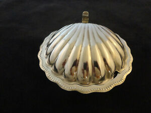 Vintage Silver Plated Scallop Shell Dish Glass Liner Marked F C 311
