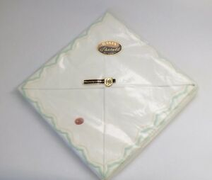 Vintage Pair Of Pillowcases Embroidered With Green Edging New Large 80cm X 80cm