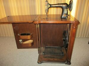 Antique Florence Rotary Treadle Sewing Machine Cabinet Accessories Beautiful