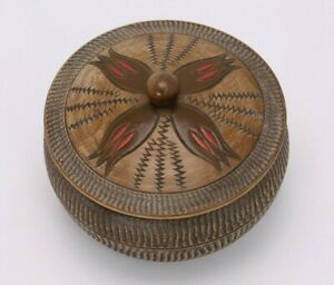 Carved Pyrography Painted Covered Small Vtg 5 Turned Wood Bowl Box Lid Trinket